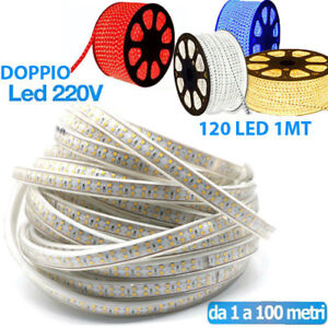 STRISCIA-LED-STRIP-DOPPIO-LED-5050-3014-INTERNO-ESTERNO-220V-BOBINA-1MT-A-100-MT