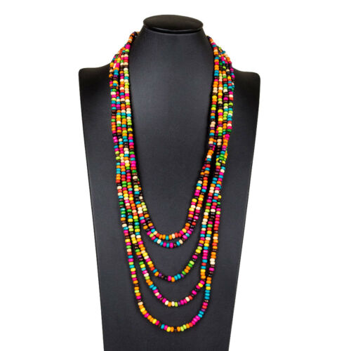 Wooden Multi Layer Beaded Handmade Colorful Long Layered Bead Opera Necklace