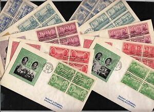 1936-Army-Navy-Sc785-94-Ioor-cachets-matched-set-blocks-of-4