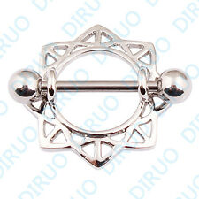 Unisex Nipple Piercing Jewellery: an eight pointed star shield on a barbell