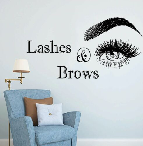 Eyelashes Sticker Wall Art Lashes Brows Microblading Beauty Salon Decor Quote