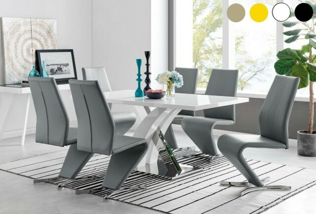 Venus 160cm High Gloss Furniture Grey 6 Seater Dining Table Chair Set For Sale Ebay
