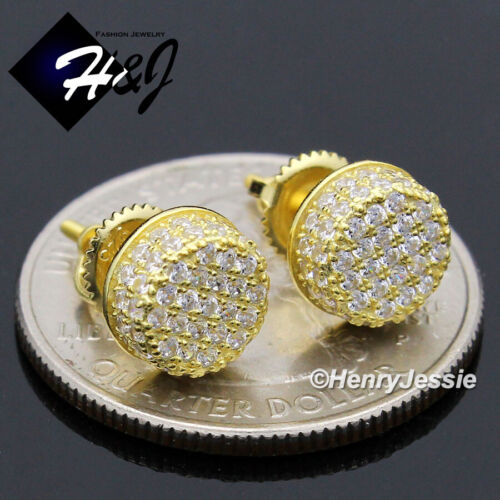 MEN WOMEN 925 STERLING SILVER 8MM ICY DIAMOND GOLD ROUND STUD EARRING*GE192
