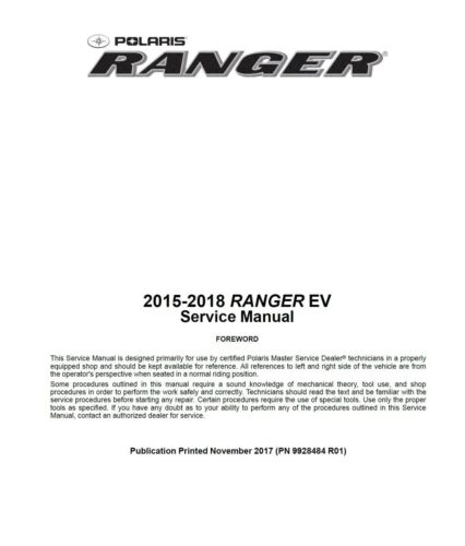 2015 2016 2017 2018 Polaris Ranger EV electric vehicle service manual on CD