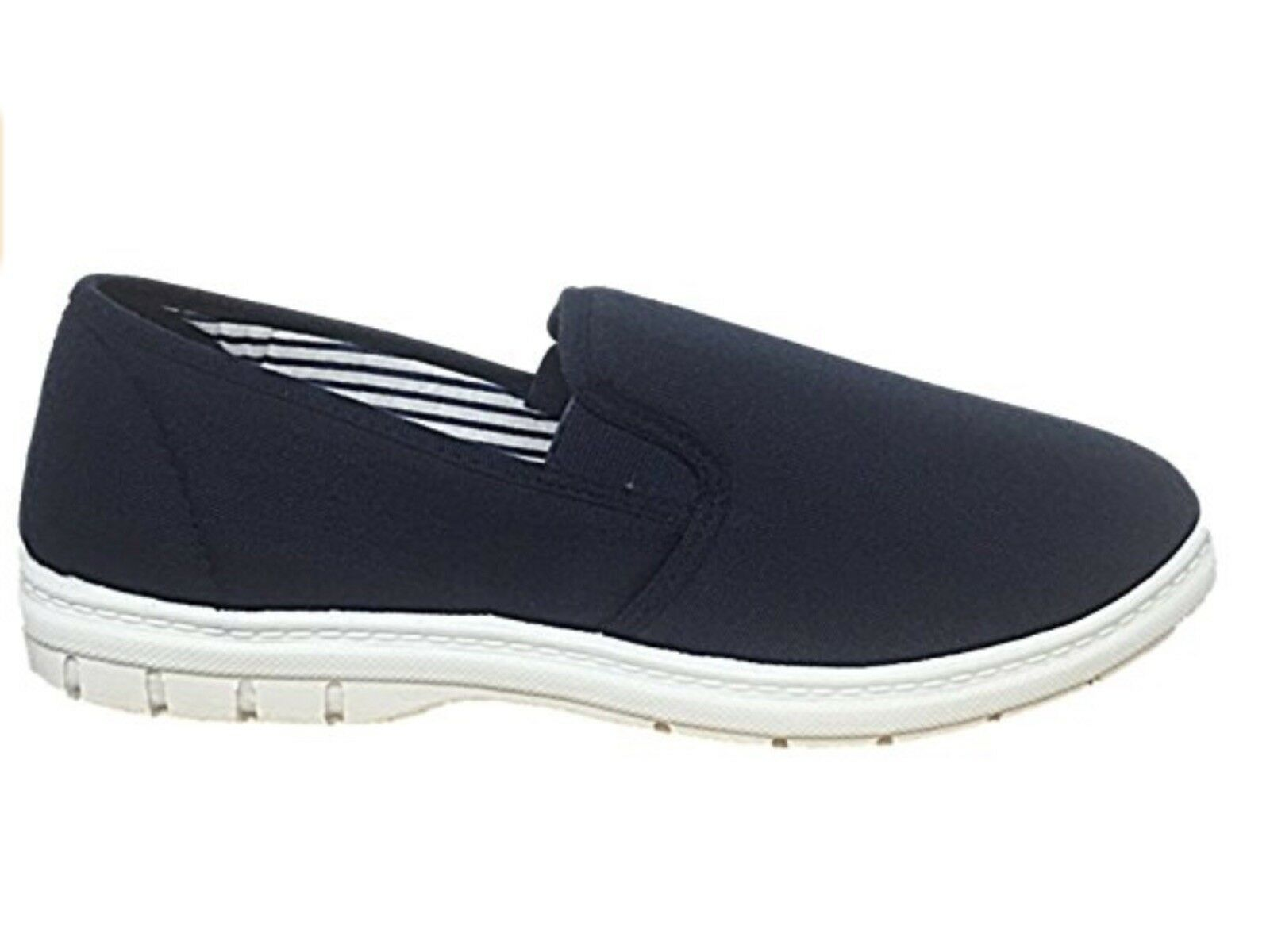 Canvas Slip On Wider Fit Plimsoll Pump Trainer By Shoe Size Tree - Navy - Size Shoe 7 756df9