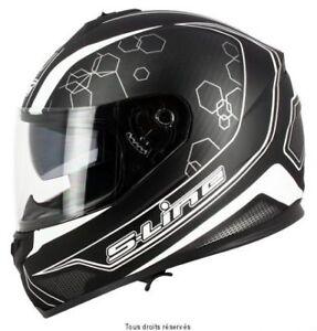 Casque-Moto-Scooter-Integral-S-Line-S440-double-visiere-noir-blanc-taille-M