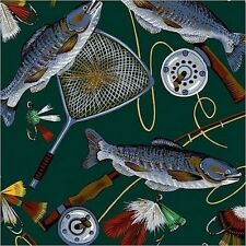 Fly Fishing Fish Gear Poles Reels Net Tackle Lure Fleece Fabric Print A238.07