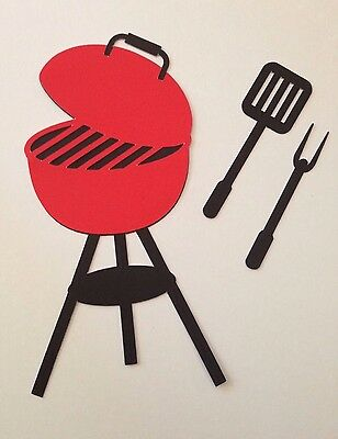 Grill With Cooking Utensil Die Cut Set Paper Piecing,  Handmade  Embellishment
