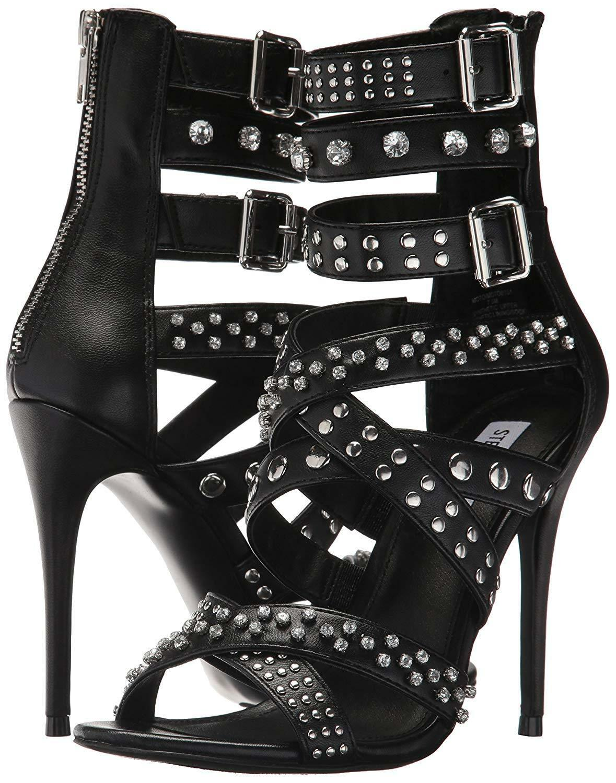 Steve Madden Moto Multi Strap Studded Strappy Dress Sandals, Multi Sizes Black