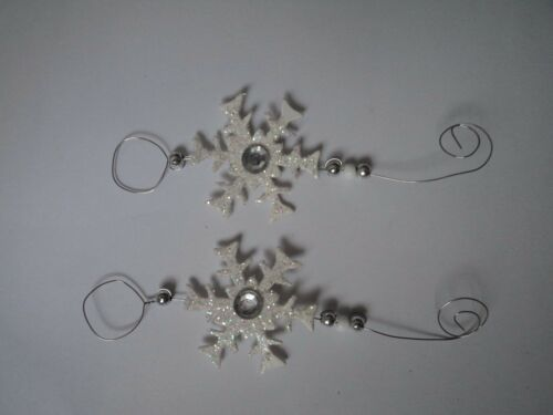 PK 2BEAUTIFUL SNOWFLAKE GEM TOPPER EMBELLISHMENTS FOR CARDS OR CRAFTS