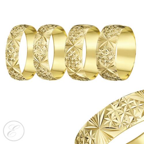 9ct Yellow Gold Ring Heavy Weight Court Shaped Diamond Cut Wedding Band
