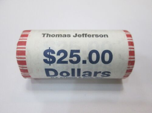"""2007-P Thomas Jefferson Presidential /""""Unopened/"""" Bank Wrapped Dollar 25 Coin ROLL"""