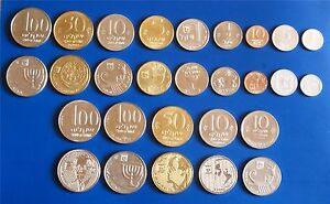 Complete-set-of-Israel-Old-Sheqel-amp-Special-Issue-Coins-Lot-of-14-Coins