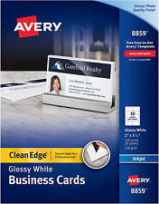 Avery Clean Edge Business Cards Inkjet 2 X 35 Glossy White 200 Cards
