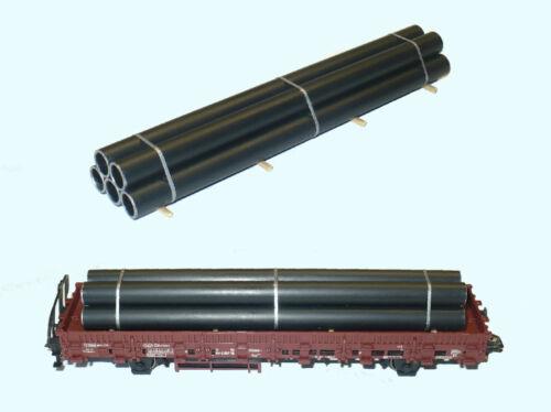 N Rohrladung für Flachwagen//Rungenwagen d=8 mm 3er Bund 60x17 mm
