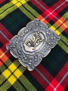 CC Scottich Kilt Belt Buckle Matt Oval Design with Welsh Dragon Badge Antique