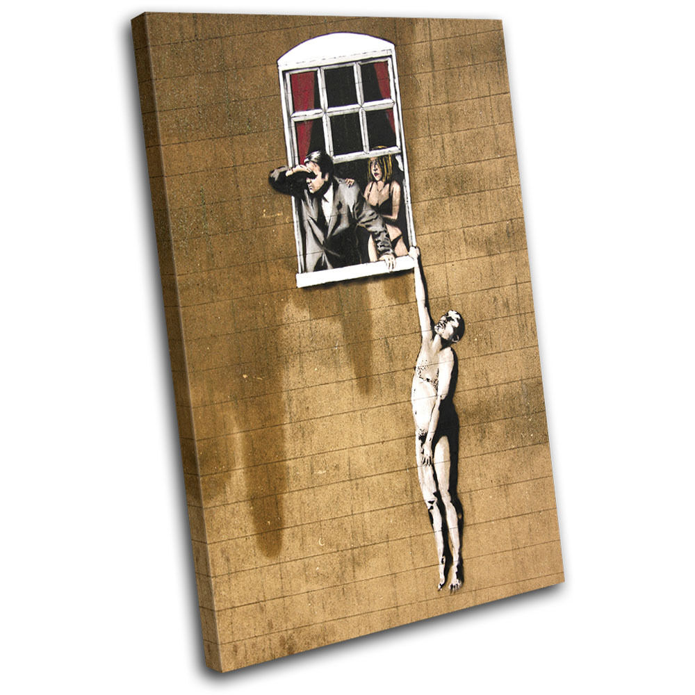 Window Lovers Banksy Street SINGLE LONA pa pa pa rojo  arte Foto impresion 536a36