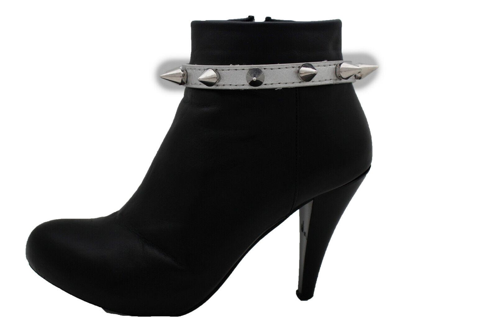 Women Silver Metal Chain Boot Bracelet Strap Shoe Band Spike Charm Rocker Punk