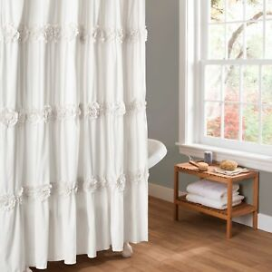 Image Is Loading Gorgeous Fabric Rosette Shower Curtain Elegant White Ruched