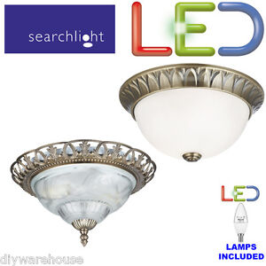 Searchlight antique brass flush led ceiling light frosted glass image is loading searchlight antique brass flush led ceiling light frosted mozeypictures Images