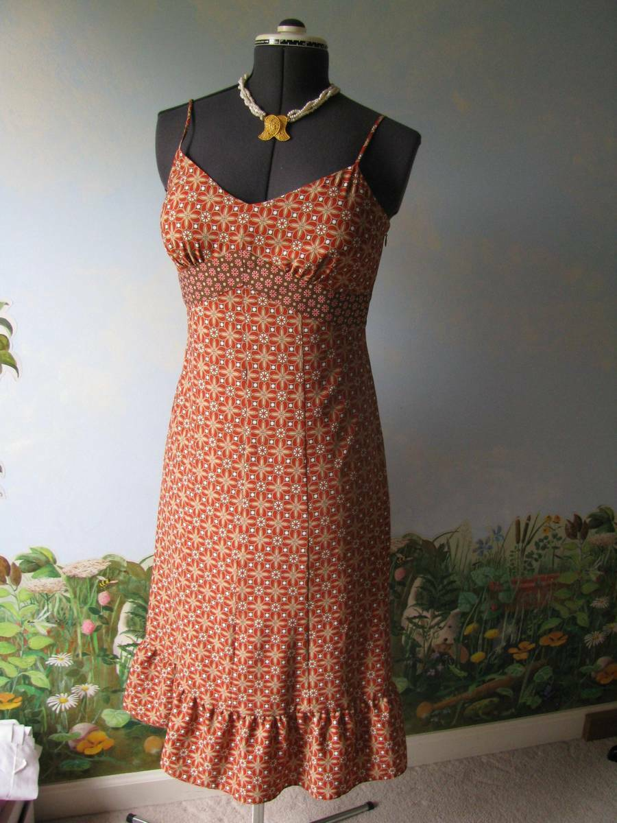 Ann Taylor Loft Women orange Floral Spaghetti Strap summer Dress Size 6 New
