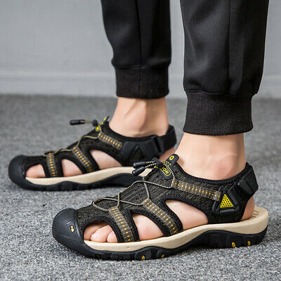 Mens Beach Sandals Sports Leather Fisherman Closed Toe Trekking Shoes Size 7-14