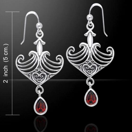 Celtic Maori Gem stone Sterling Silver Earrings by Peter Stone Fine Jewelry