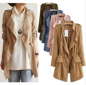 Women-Ladies-Belted-Long-Sleeve-Waterfall-Duster-Coat-Cape-Cardigan-Jacket-Tops