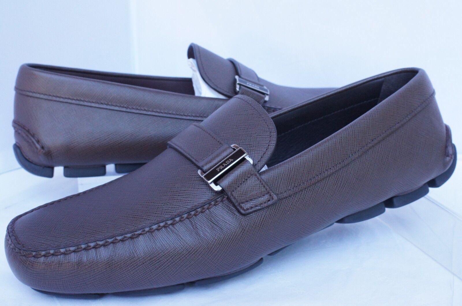 Nouveau Prada Chaussures Hommes Mocassins Pilotes Marron Taille 10.5 Calzature hommes vente Cadeau