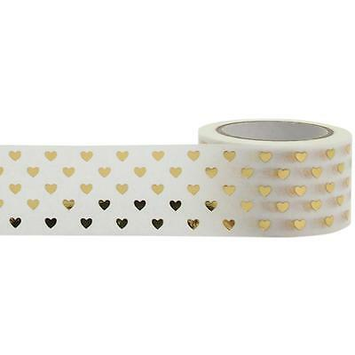 Gold Hearts White and Gold Foil Washi Tape, 25mm with Cutter by Little B