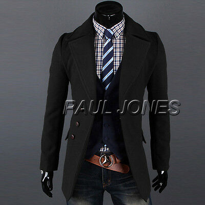 Mens Wool Coat Winter Peacoat Trench Overcoat Long Jacket Outwear Windbreaker