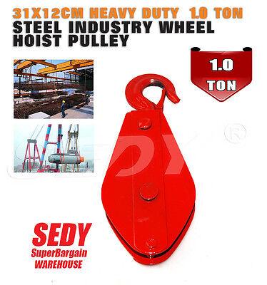 Sheave Block 30x12cm Heavy Duty 1 Ton Steel Industry Wheel Hoist Pulley Hook
