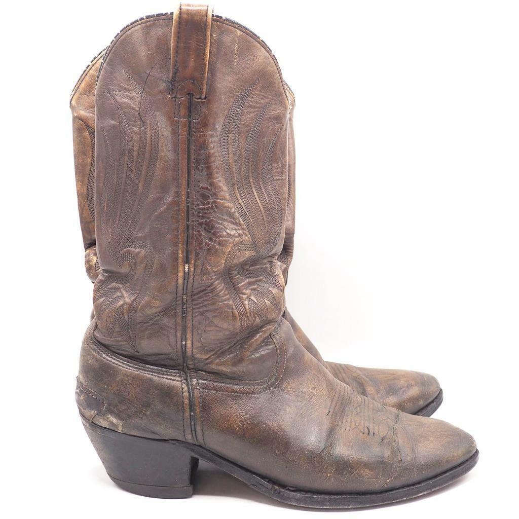 Vintage Herren Hh Doppel H braun Cowboy Western Stiefel Größe 12 D