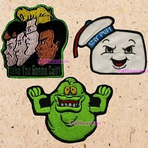 Lot Of 3 The Real Ghostbusters Patches Slimer Cartoon Stay Puft