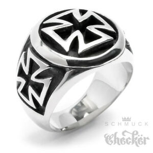 Edelstahl Ring Iron Cross Eisernes Kreuz Biker Massiv silber schwarz gold Herren
