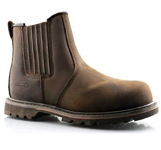 ARMA Safety Dealer Steel Toe Cap S3 Brown Leather Rawhide Chelsea Ankle Boots