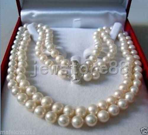 Rare!2 Rows 8-9 MM freshwater Cultured PEARL NECKLACE