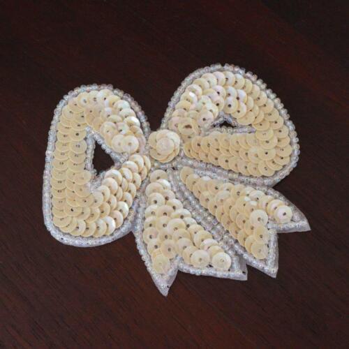 pretty cream white multi sequin beaded bow design sequin beaded applique motif