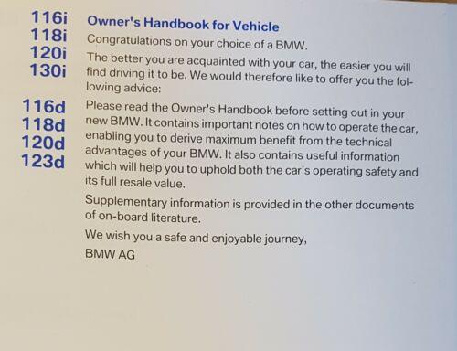 GENUINE BMW 1 SERIES E81 E87 2007-2011 HANDBOOK OWNERS MANUAL WALLET # K-758