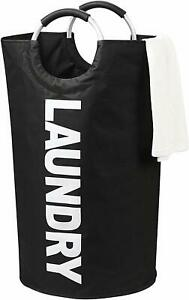 Foldable-Laundry-Basket-Washing-Wash-Bag-Clothes-Storage-Bin-with-Handles-BLACK