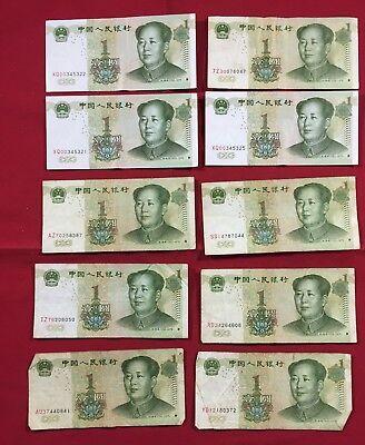 High grade Lot 12 piece China 1 Yuan Paper Money,1999
