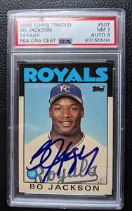 1986 TOPPS TRADED TIFFANY #50T BO JACKSON AUTOGRAPH XRC RAIDERS ROYALS PSA DNA