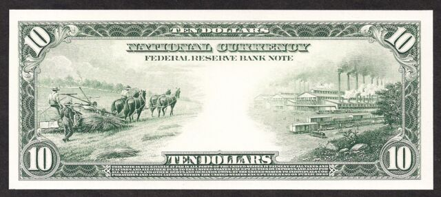 Proof Print by the BEP - Back of 1915 $10 Federal Reserve Bank Note