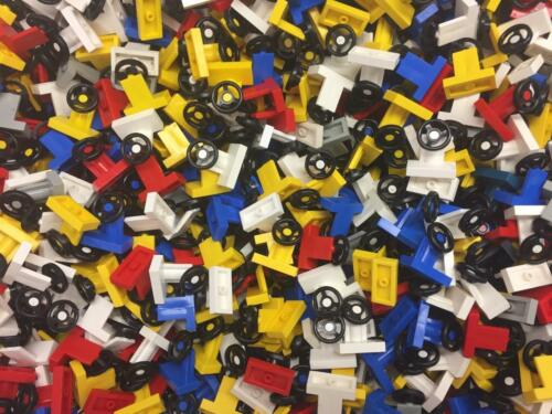 10 LEGO STEERING WHEELS LOT race cars trucks vehicle parts red blue white black