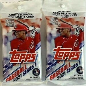2021 Topps Series 1 Baseball Fat Pack Sealed (40 Cards/pack) HOT LOT OF 2 PACKS