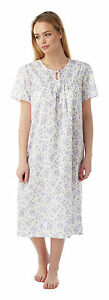 Ladies-Keyhole-amp-Bow-Lightweight-Nightdress-White-Lilac-in-Sizes-10-30