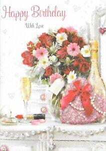 Das Bild Wird Geladen Weibliche Happy Birthday Karte Blumen Amp Champagner 1st