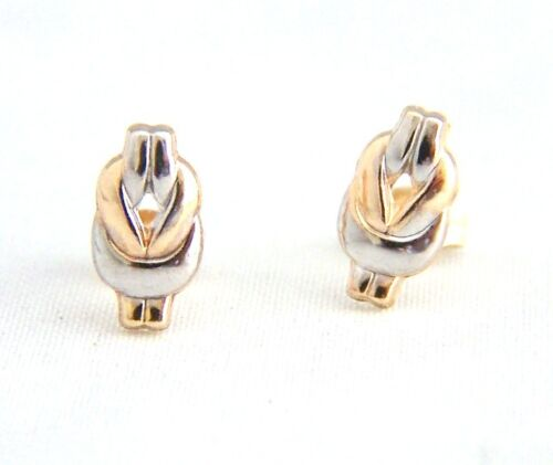 9ct Gold Andralok Small Knotted Loop Rhodium tone Studs Earrings Mum/'s GIFT BOX