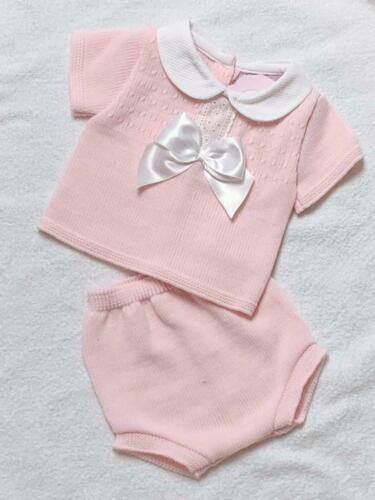 Baby Girl Romper Spanish Style Knitted Pink Blue /& Grey 0-9 Months Jam Pants
