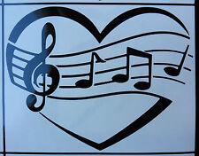 Love music love heart Laptop happiness stickers/car/van/window/decal 5423 black